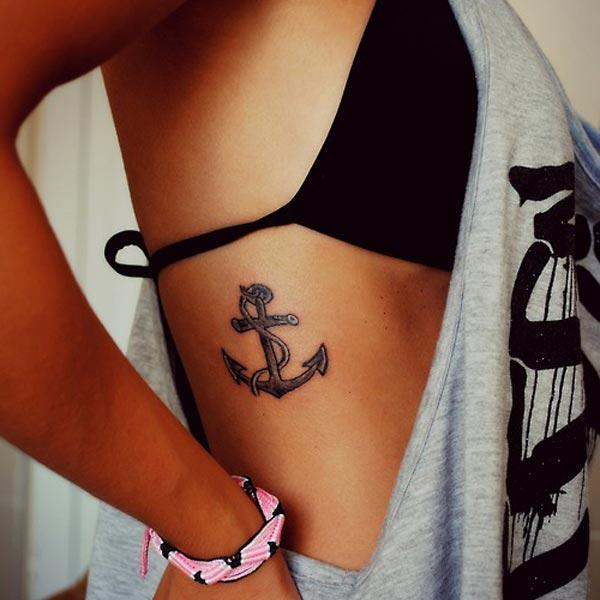 anchor tattoo on side