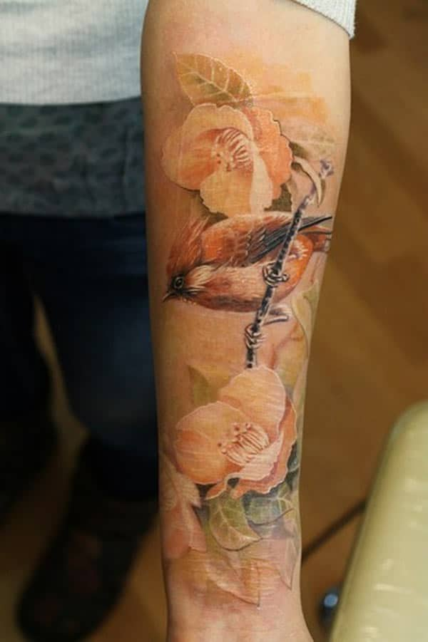 flower and bird tattoos