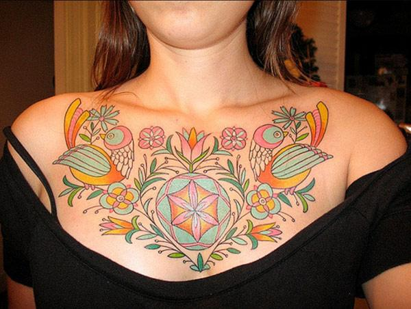 ladies chest tattoos