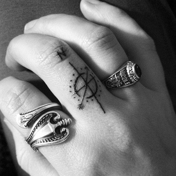 compass tattoo on finger