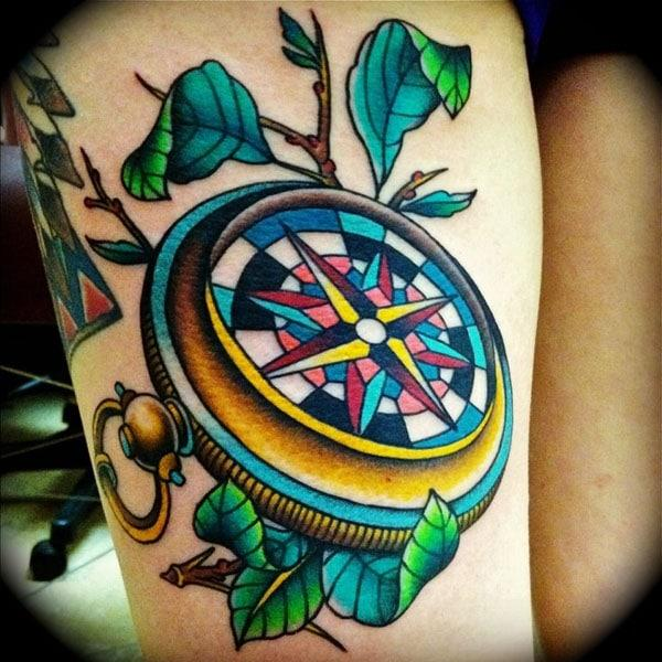 Compass Tattoo on Thigh