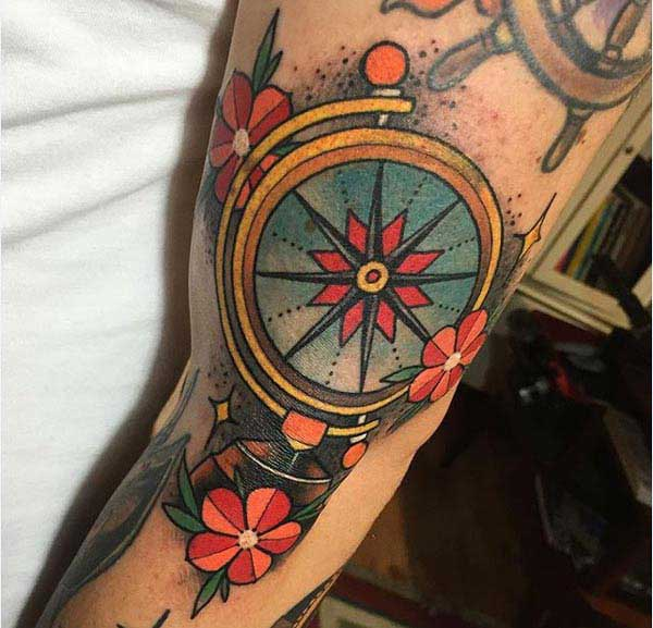 compass flower tattoos