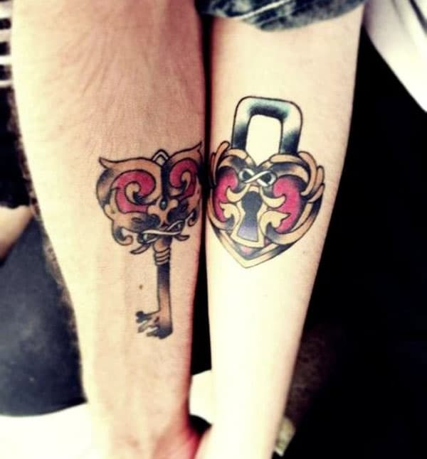 key and lock tattoos for couples