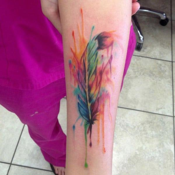 color feather tattoos