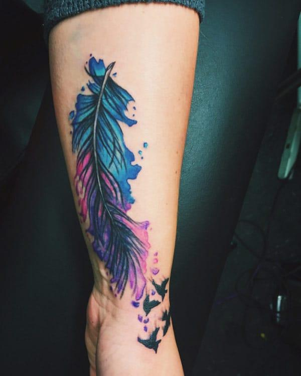 beautiful feather tattoos