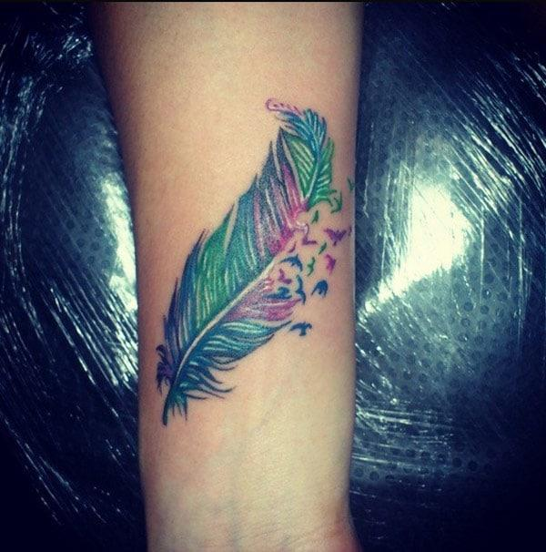 cool feather tattoos
