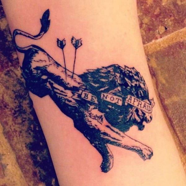 løve tatovering kunst