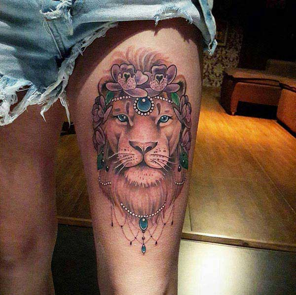 girly lion tattoo