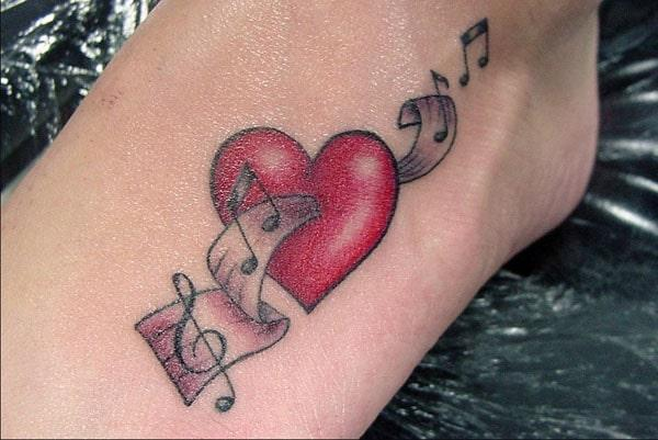 music tattoos on foot