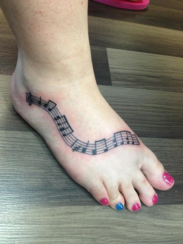 leg music note tattoos