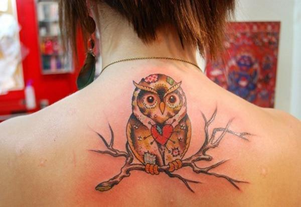 girl owl tattoos on back