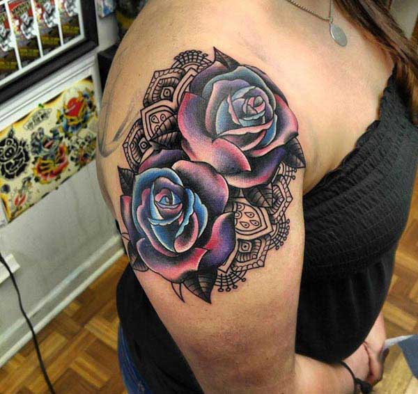 colorful rose tattoos