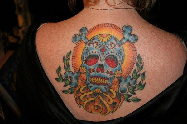 full back skull tattoos