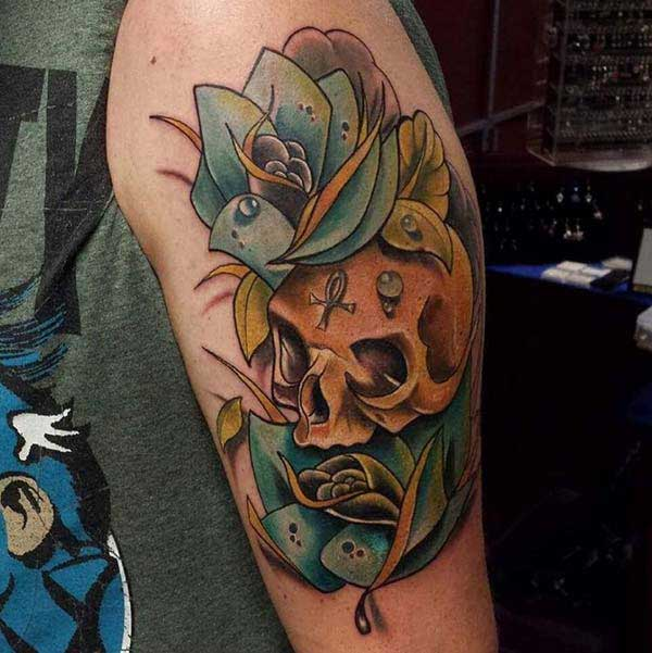 flower skull tattoos
