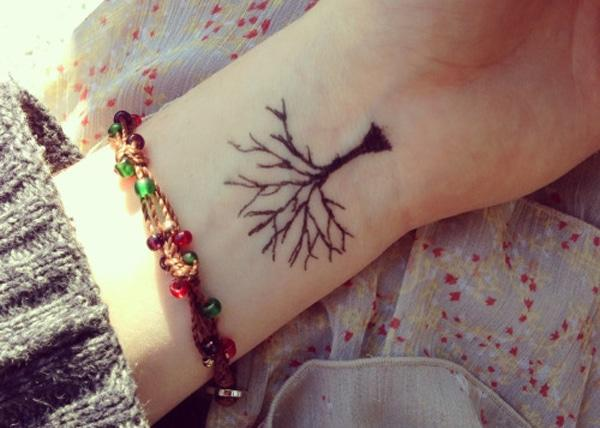 tree tattoo design on wrist