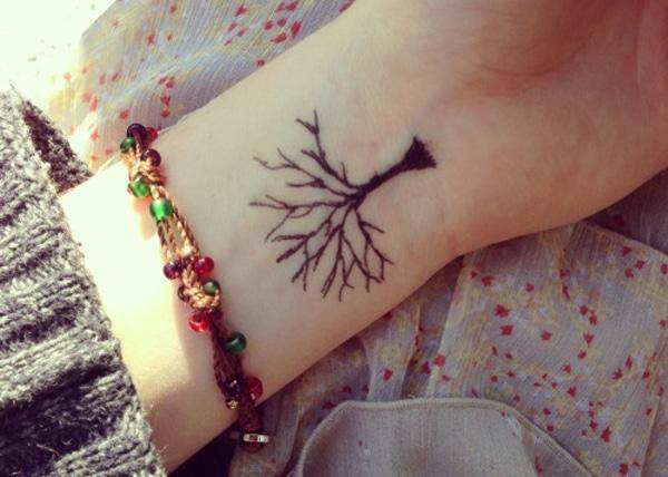 कलाई पर वृक्ष टैटू डिजाइन