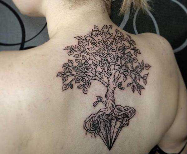 पीठ पर लड़की ट्री टैटू