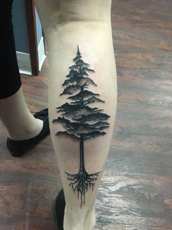 leg tree tattoos
