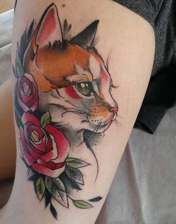 colorful cat tattoos