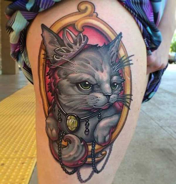 cat tattoos on thigh