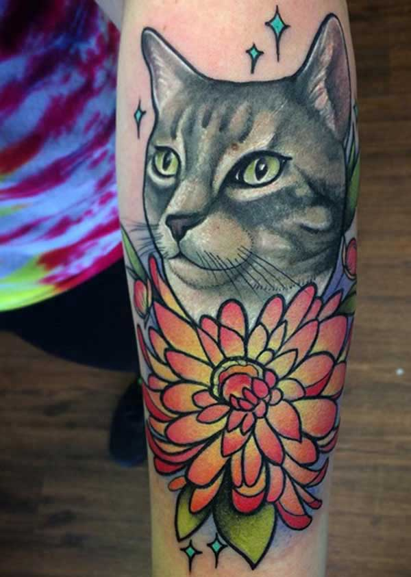 flower cat tattoos