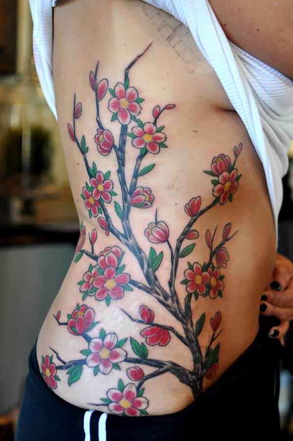 side cherry blossom tattoos