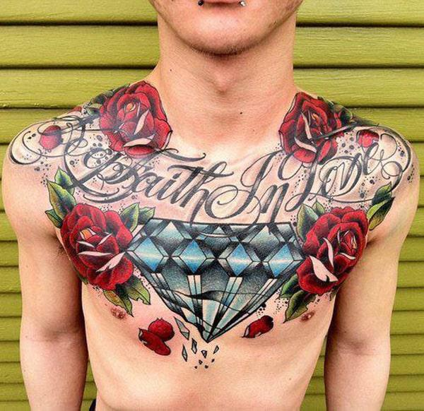 diamond tattoos on chest