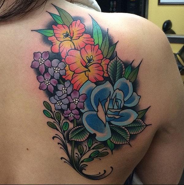 colourful flower tattoos