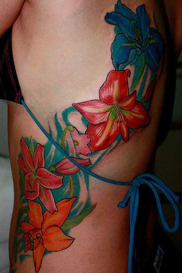 ladies flower tattoos