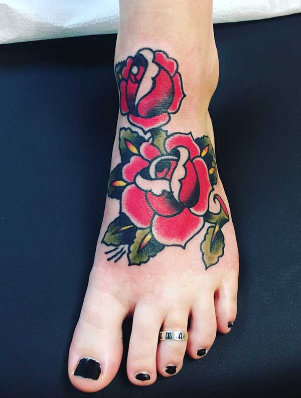 rose foot tattoos