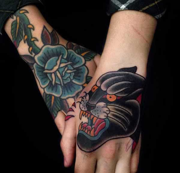 colorful hand tattoos