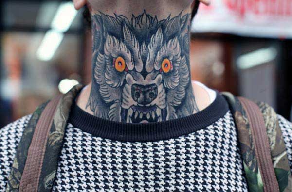 wolf neck tattoos