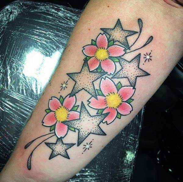 flower star tattoos