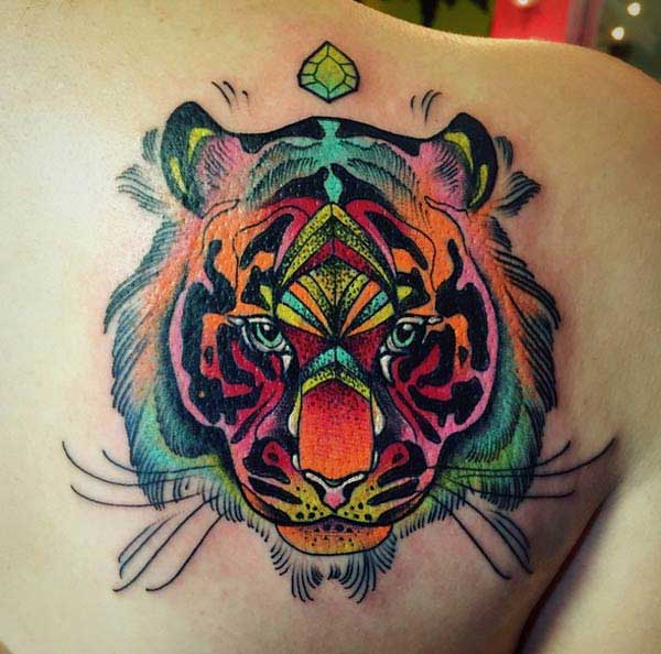 colorful tiger tattoos