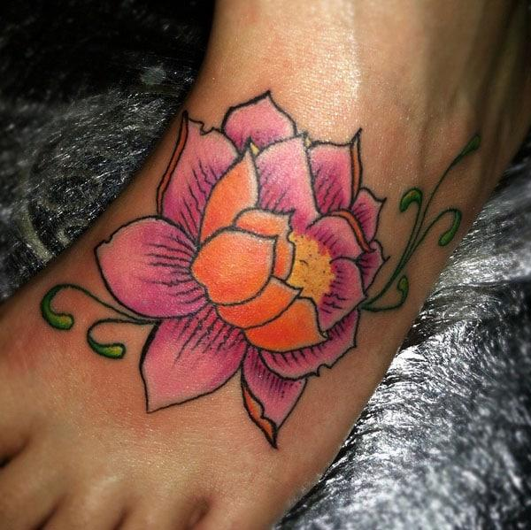 lotus flower tattoos on foot