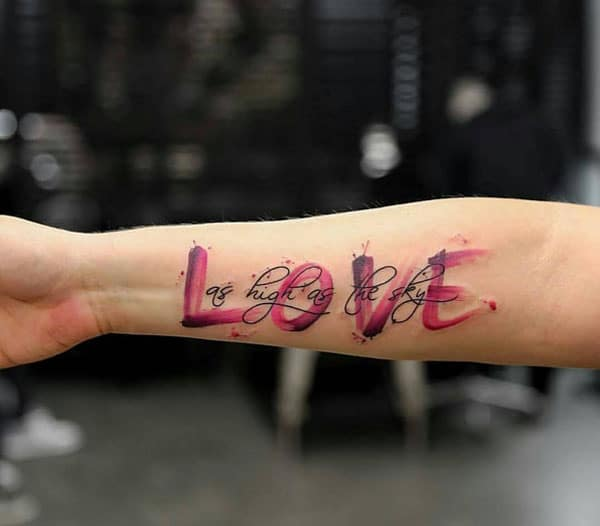 colourful love tattoos