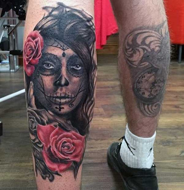 back leg day of dead tattoos