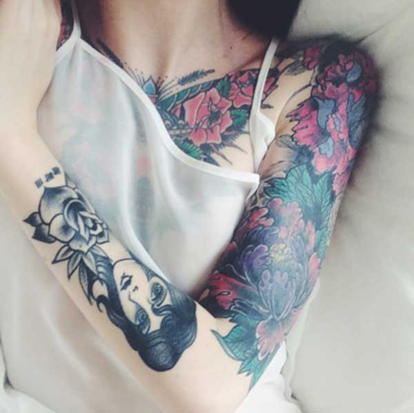 girl half sleeve tattoos