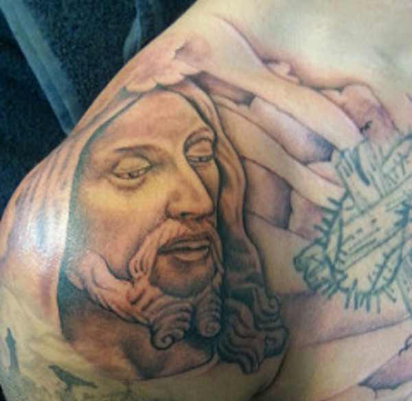 jesus shoulder tattoos