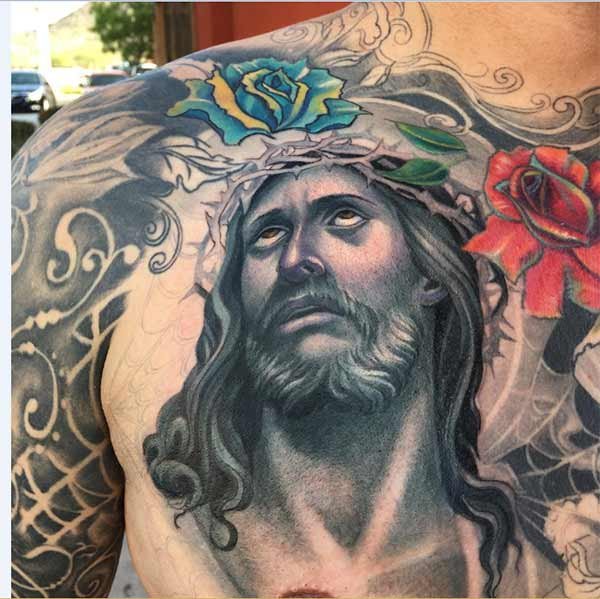 jesus chest tattoo