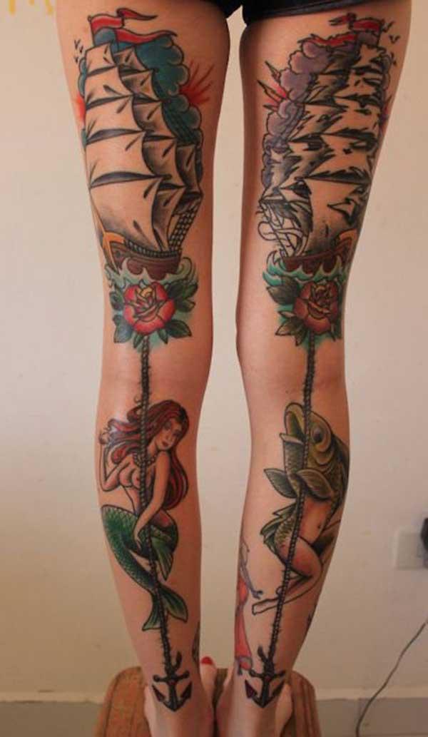tatuajes de pierna femenina