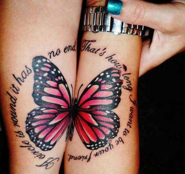 matching butterfly tattoos