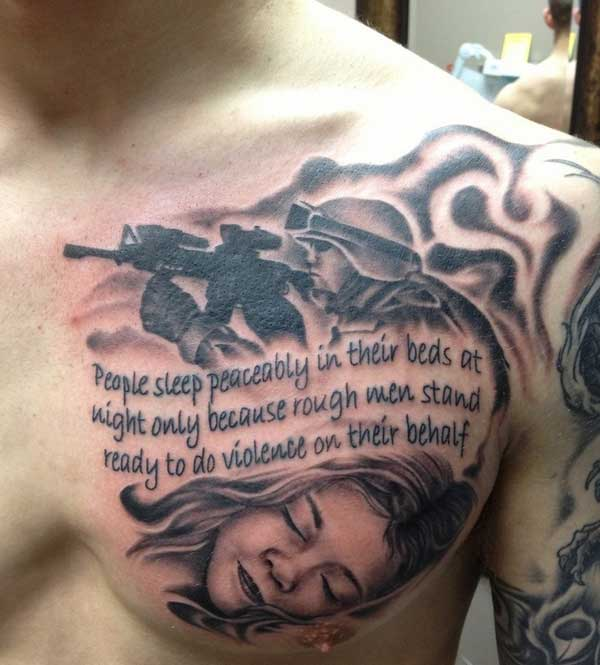 military tattoo on chest