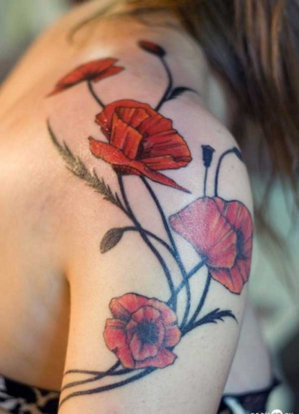 flower shoulder tattoos