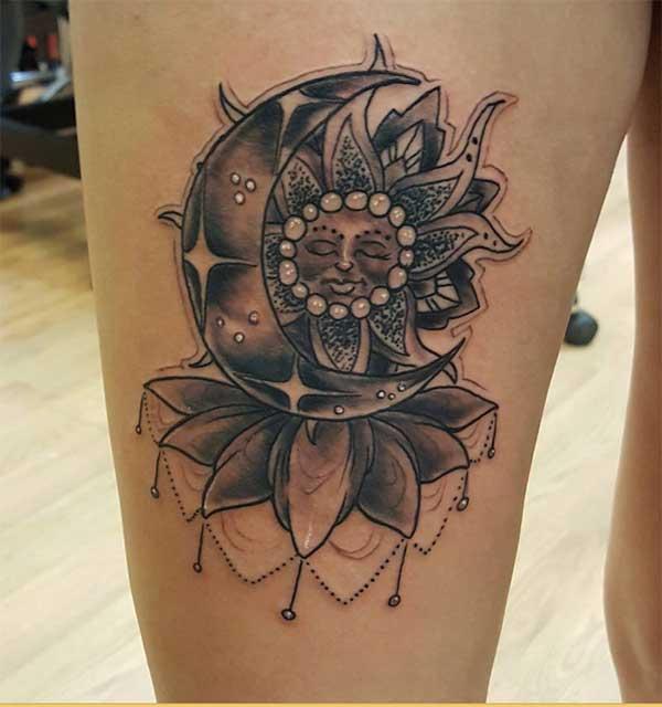 piękne tatuaże słońca i księżyca