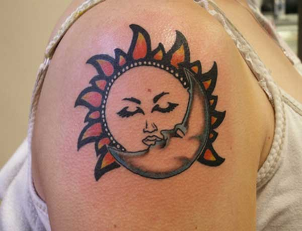 sun and moon kissing tattoos