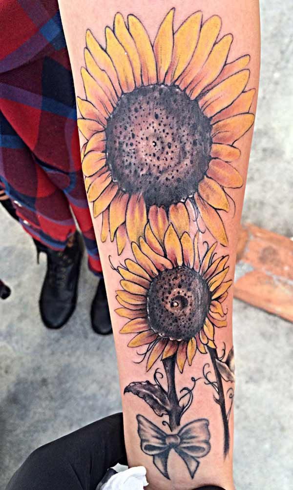 full arm sunflower tattoos