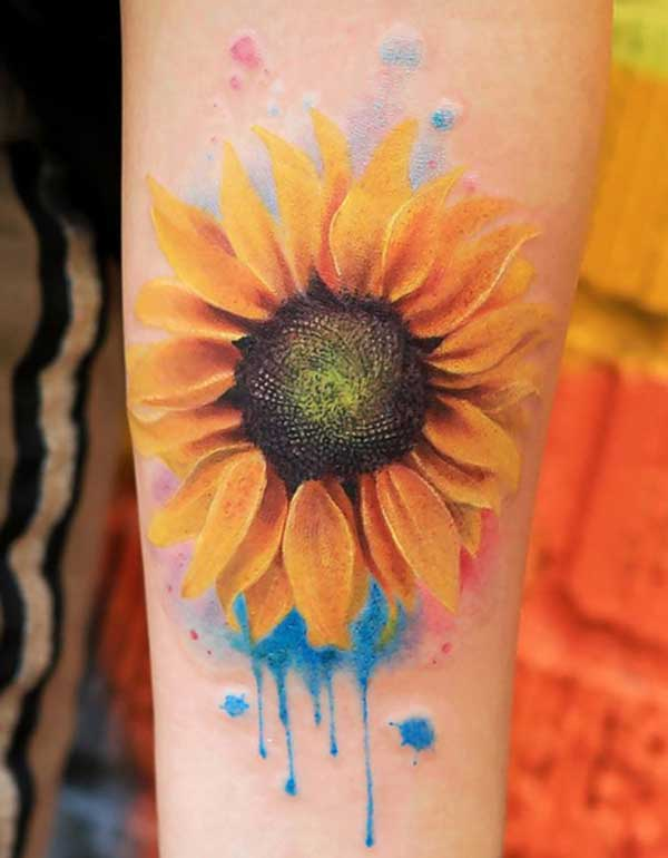 tattoos sunflower ສີສັນ