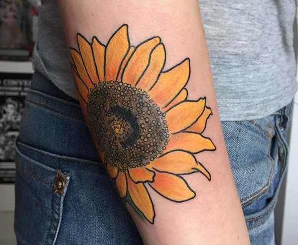 lady sunflower tattoos
