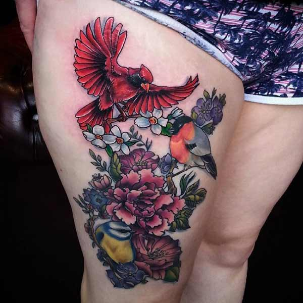 birds and flower thigh tattoo idea for women's
